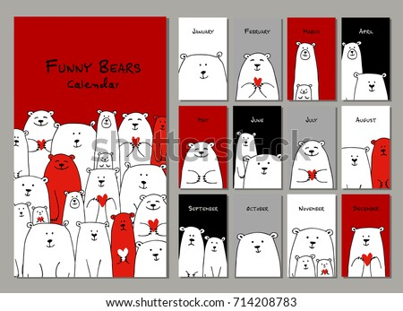Funny white bears family. Design calendar 2018 Vector illustration