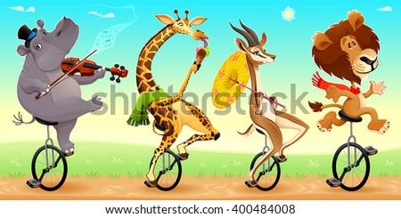 Funny wild animals on unicycles. Vector cartoon illustration - stock vector
