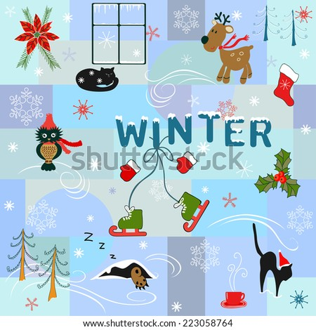 Funny winter background - stock vector