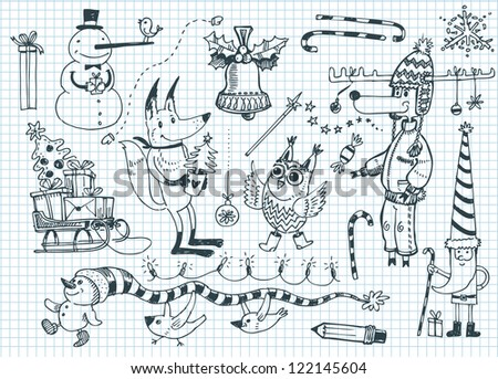 Funny winter characters - stock vector