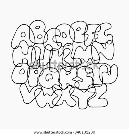 Funny wire alphabet from black outline letters. Cute cartoon alphabetic letters isolated on white. Bold font abc, rounded type for birthday greeting, poster, banner. Vector alphabet, eps10 line design - stock vector