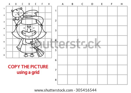 funny witch game. Vector illustration of grid copy puzzle with happy cartoon witch for children - stock vector