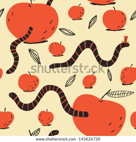 Funny worms like to eat apples. Vector seamless pattern - stock vector