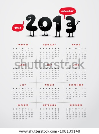 Funny year 2013 calendar - stock vector