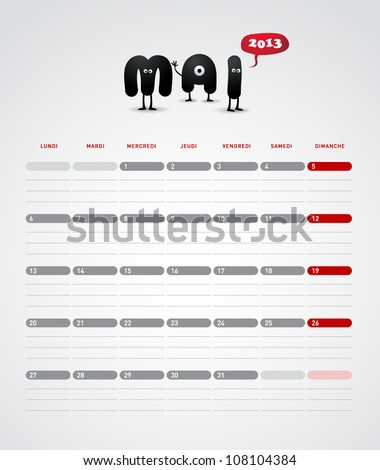 Funny year 2013 vector calendar May -  In French. - stock vector