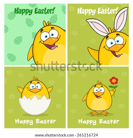 Funny Yellow Chick Cartoon Character Different Poses 8. Vector Collection Set Isolated On White - stock vector