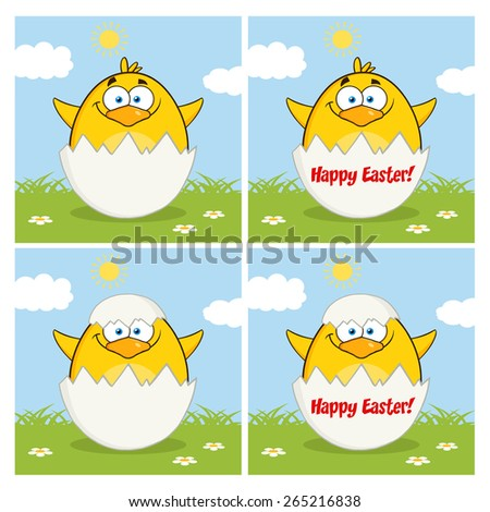 Funny Yellow Chick Cartoon Character Different Poses 10. Vector Collection Set Isolated On White - stock vector