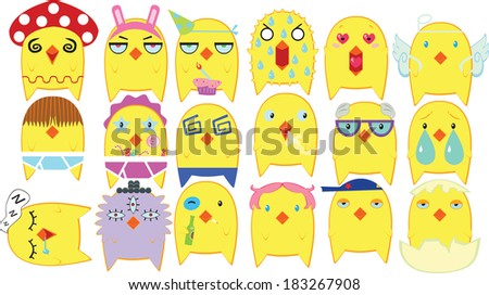 Funny Yellow Chickens Collection (EPS10 vector Characters) - stock vector