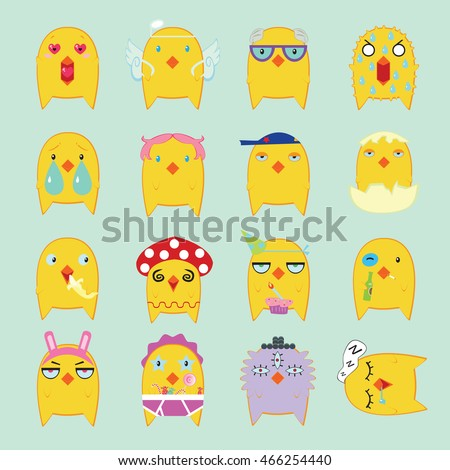 Funny Yellow Chickens Set. Emoticon background.