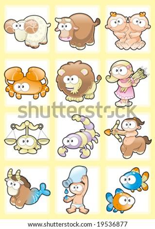 Funny Zodiac with Background - stock vector
