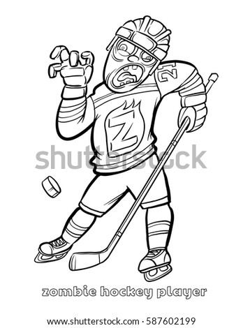 Coloring Page Of A Hockey Player. Funny Zombie Hockey Player Coloring Page Vector Illustration Stock 587602199