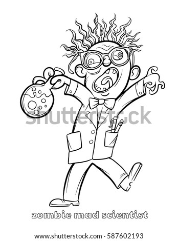 Funny Zombie Mad Scientist Coloring Page Stock Vector (2018 ...