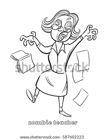 funny zombie teacher coloring page vector illustration - Teacher Coloring Page