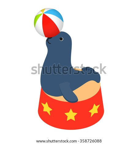 Fur seal circus isometric 3d icon isolated on a white background - stock vector