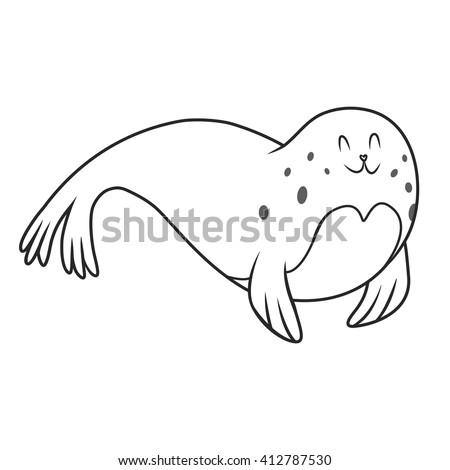 fur seal. coloring book. vector illustration - stock vector