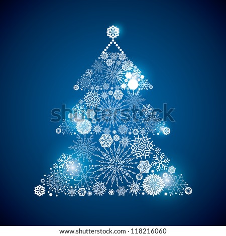 Fur-tree consisting of a scattering of scintillating shining snowflakes - stock vector