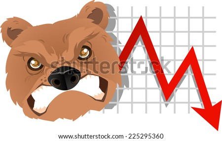 Furious Bear Analysis going down chart vector illustration. With red arrow, grey arrow and gold coins. - stock vector