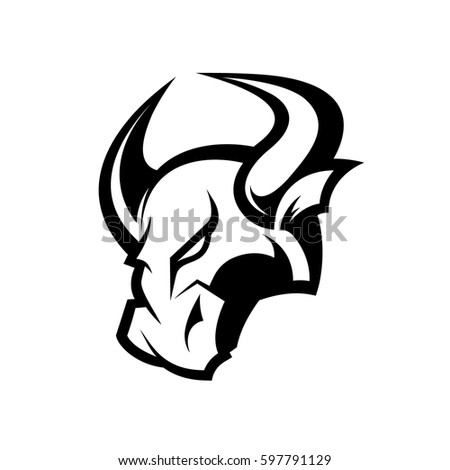 furious bull head sport vector logo concept isolated on white background team badge design
