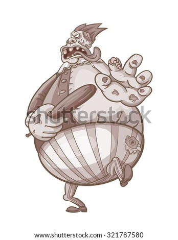 Furious fat zombie character running with baseball bat. Isolated vector image in sepia tones - stock vector