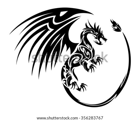 furious flying dragon tattoo symbol with wing isolated on white background