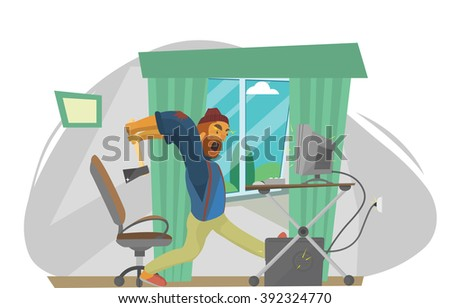 Furious frustated businessman hitting the computer - stock vector