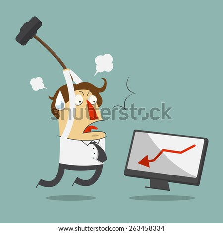 Furious frustrated businessman hitting the computer. Cartoon character. Vector, Illustration - stock vector