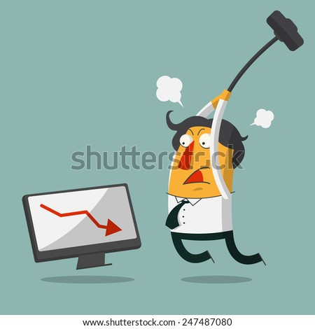 Furious frustrated businessman hitting the computer. Vector, Illustration - stock vector