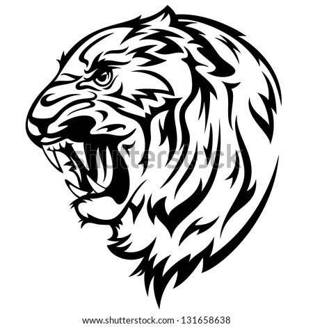 furious tiger vector illustration - realistic black and white outline of animal head - stock vector