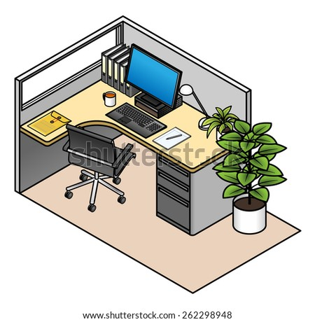 Furnished office cubicle: simple configuration with a window and a drawer unit. Mid height partitions.  - stock vector