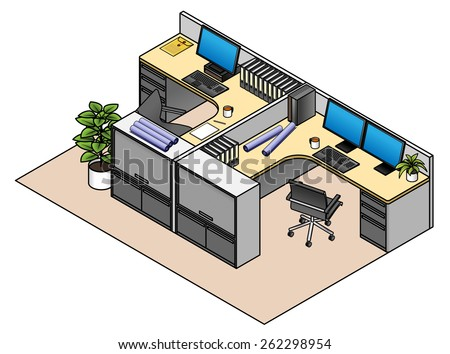 Furnished office cubicles: twin configuration with drawer units and storage cabinets. Low partitions.  - stock vector