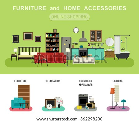 Furniture and home accessories banner with vector flat icons sofa, bookshelf, bed, bathroom, kitchen, etc. Set icons of furniture, lighting, decoration and household appliances. - stock vector