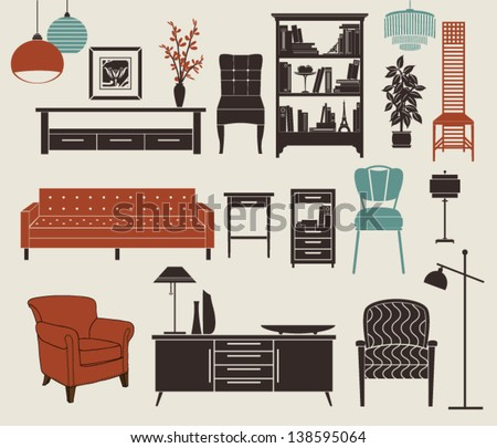 Furniture and Home Accessories - Set of design elements, including chest of drawers, bookshelf, stylized chairs, armchair, vintage chandeliers and home decoration - stock vector