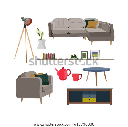 Vector Interior Design Elements Modern Furniture Stock Vector