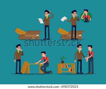 Furniture assembly help vector concept illustration with man confused by assembly instruction and receiving help from furniture store professional. Furniture assembly service. Handyman and client