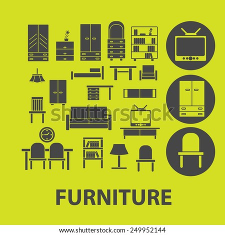 furniture, decoration, room icons, signs, illustrations on background set, vector - stock vector