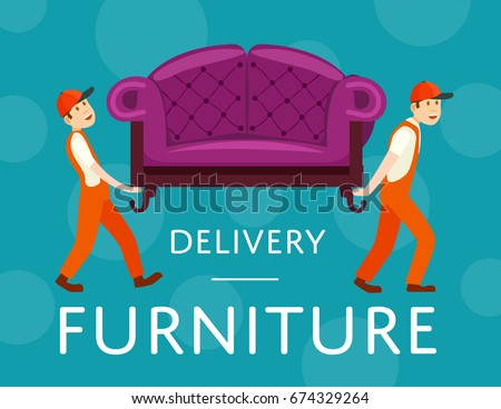 Furniture delivery service poster with workers carry sofa  Online shopping  reservation purchase and home delivery. Moving Sofa Stock Vectors  Images   Vector Art   Shutterstock