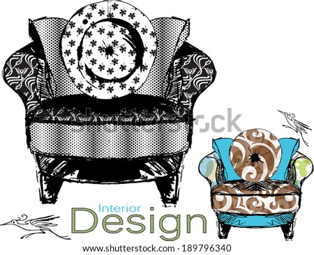 Furniture Design Sketch Vector Variations of an Upholstered Chair - stock vector