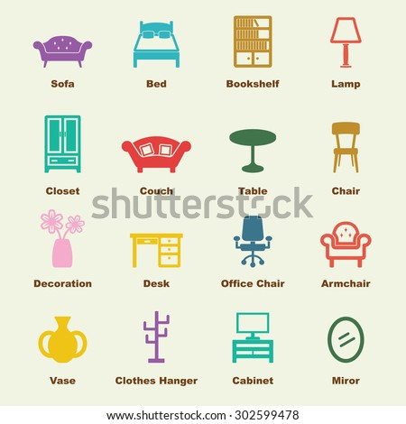 furniture elements, vector infographic icons - stock vector