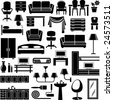 Furniture end lighting icons set - stock vector