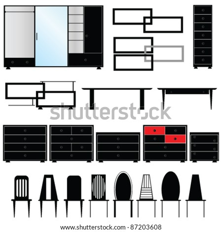 furniture for the house illustration in black color - stock vector