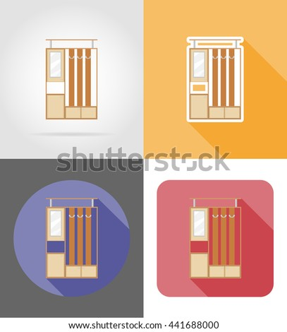 furniture hall set flat icons vector illustration isolated on white background - stock vector