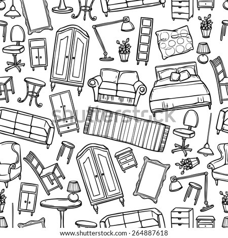 Furniture hand drawn seamless pattern with modern and classic home accessories vector illustration - stock vector
