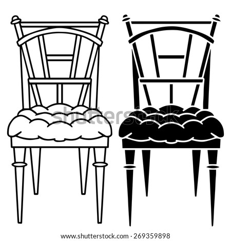 Stock Vector Retro Wooden Stool on wooden table and chairs