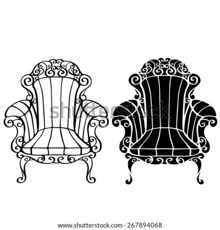 Furniture hand drawn set, vintage chair, armchair, throne front view closeup, line art, black silhouette isolated on a white background  - stock vector
