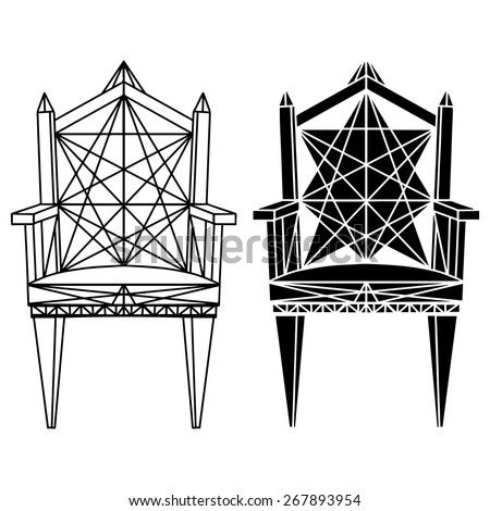 Furniture hand drawn set, vintage gothic chair, armchair, throne front view closeup, line art, black silhouette isolated on a white background  - stock vector