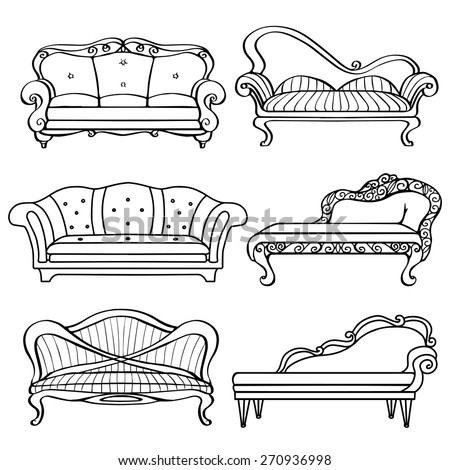 Furniture Hand Drawn Set, Vintage Sofa, Couch, Front View Closeup, Black  Lines