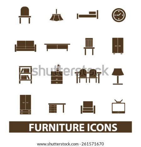 furniture, home interior isolated icons, signs, illustrations collection concept design set for web and application on background, vector - stock vector