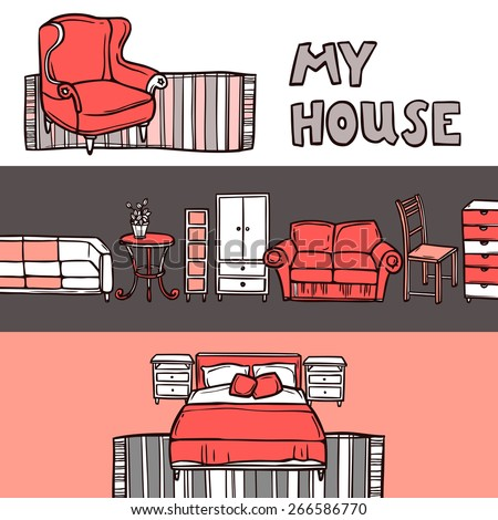 Furniture horizontal banner sketch set with house accessories isolated vector illustration - stock vector