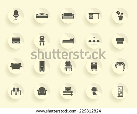 Furniture icon set - stock vector