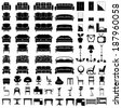 furniture icon set on white background. Vector. - stock photo